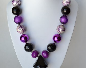 Purple & Black CHUNKY necklace with acrylic beads, tiger tail stringing, and metal toggle clasp