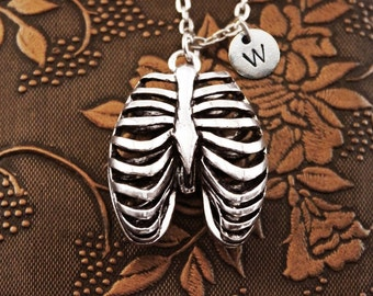 Ribcage Necklace Initial Necklace Personalized Necklace Pendant Necklace Custom Ribs Necklace Rib Necklace Anatomy Necklace Goth Anatomical