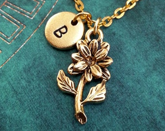 Flower Necklace, Gold Flower Charm, Personalized Necklace, Pendant Necklace, Dahlia Necklace, Engraved Necklace Gold Dahlia Charm
