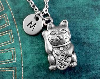 Maneki Neko Cat Necklace, Lucky Cat Pendant, Welcoming Cat Necklace, Chinese Lucky Cat Necklace, Monogram Necklace, Cat Charm Keychain