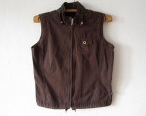 Brown Women Vest Country Romantic Comfortable Waistcoat Large Size Zipper Athletic Gift to Mom Traditional