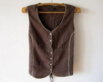 Brown Vest Women Romantic XXXL Waistcoat Steampunk Blouse Comfortable Classic Size Plus Linen Country Cottage Chic Gift to Mom
