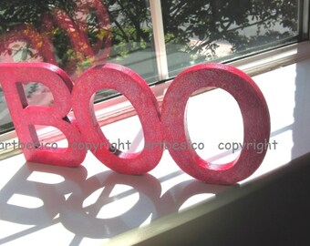 Boo wooden letters sign, Halloween