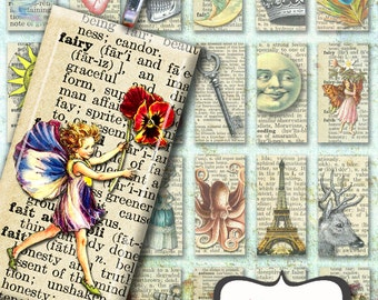"""Vintage Pendant Sheet, Dictionary Collage Sheet of vintage images for pendants, stickers or magnets, 1""""x 2"""" domino pendant collage sheet"""