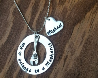 My heart belongs to a mechanic hand stamped necklace with wrench charm