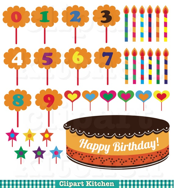 Birthday Cake Decoration Digital Clipart Set Personal and