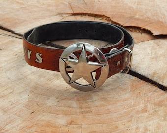 Custom Leather Cowboys Belt 5 Stars 5 Championships