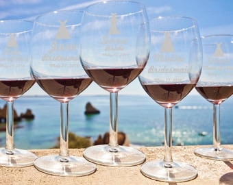 7 Personalized Wine Glasses - DIY - Bridesmaids Gift - Custom Engraved Wine Glasses - Wedding party favors