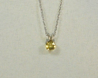 Citrine Round Sterling Silver Pendant Necklace
