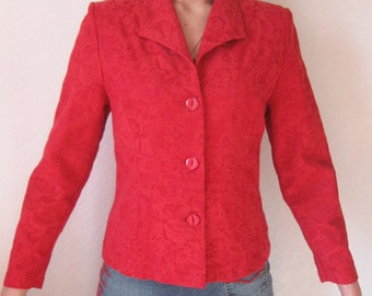 Vintage Scarlet Red Jacket Floral Print  Red Womens Blazer Small Size
