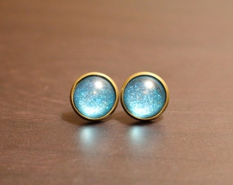 Teal Sparkle Earrings - Antique Bronze Stud Earrings