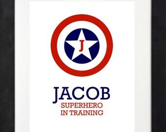 Superhero in Training Print // Custo Superhero // Personalized Print // Superhero Wall Art // Superhero Decor // Boys Wall Art