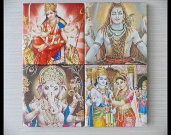 Hindu Deities, God - Maa Durga, Shiva, Ganesha, Rama & Sita - 4 Piece Ceramic Tile Coaster Set- Home Decor, Holi, Diwali Gift- Made to order