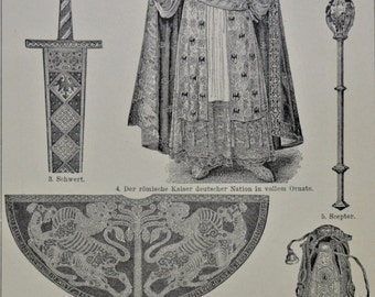 Holy Roman Emperor badges's  print. History engraving. 1901.Old book plate. 113 years lithograph.9'6 x6'2 inches.