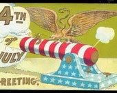 Fourth of July Eagle & Cannon 1908 Postcad