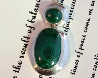 Green Malachite Pendant. Sterling Silver, Hinged  free US ship
