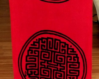 Chinese Trigram of Health, Wealth, Success Long Scarf. Prosperity Increase.. Feng Shui brings You Luck! Black and Red 14.00