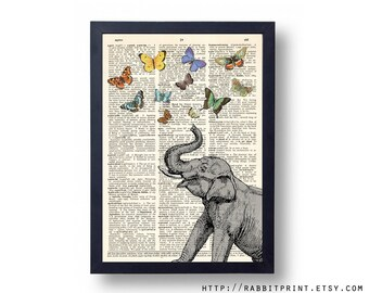 Elephant Dictionary art print, Butterflies Wall Art Print, Butterfly illustration vintage dictionary page print, 8x10 poster wall decal