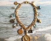 Bracelet - Sea of Galilee Mary Magdalene Charm - Labradorite, Crystal, Pearl, Aquamarine, 18K Gold Vermeil