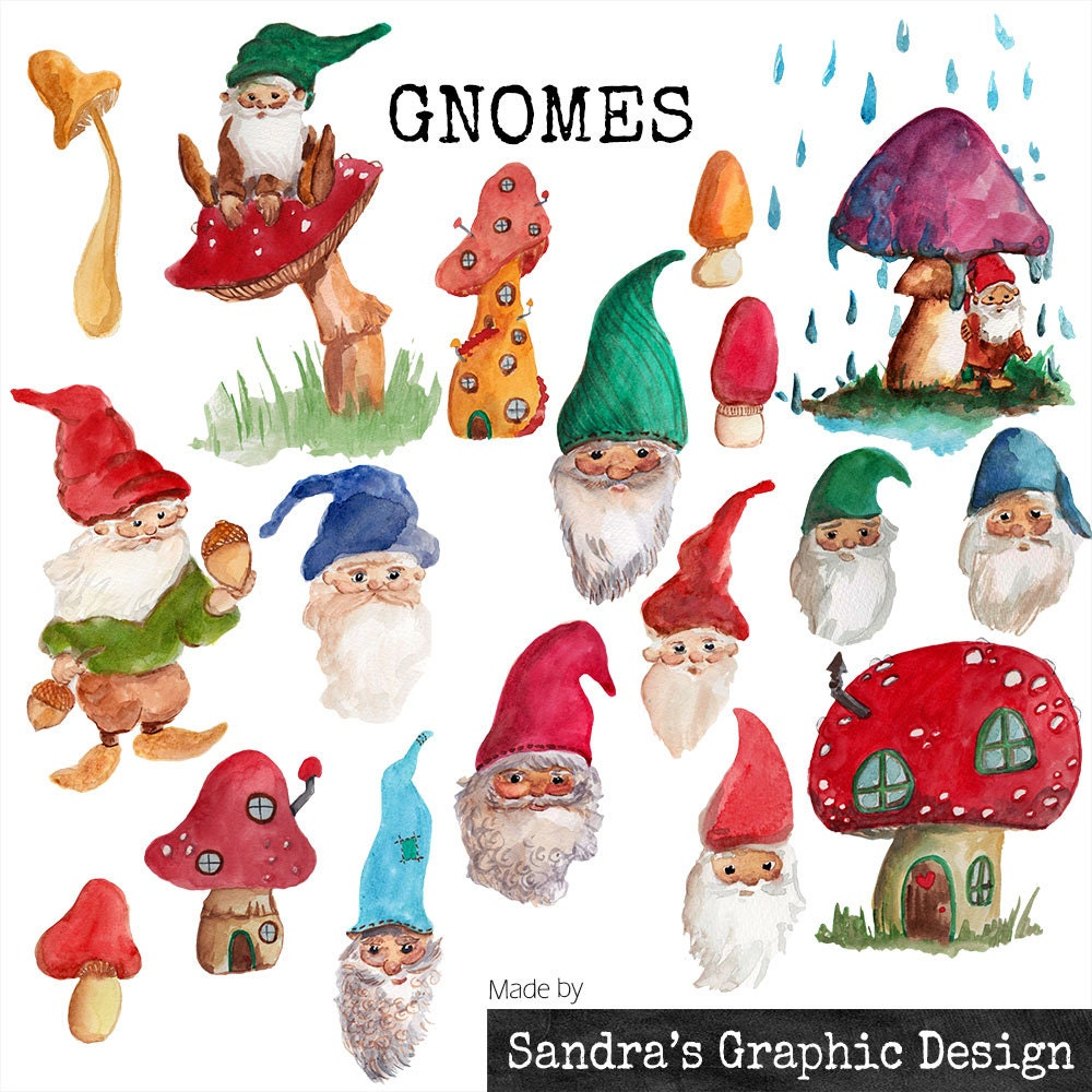 Clipart: GNOMES hand painted watercolor by SandraGraphicDesign: https://www.etsy.com/listing/201422197/clipart-gnomes-hand-painted...