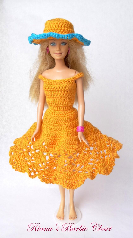 h keln sie barbie kleidung outfit orange barbie kleid mit. Black Bedroom Furniture Sets. Home Design Ideas