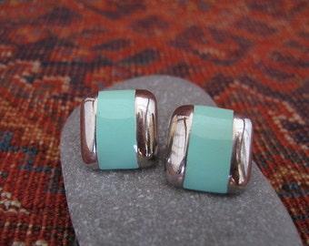Vintage 1980s Enamel & Silver Tone Geometric Fashion Earrings