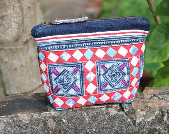 Handmade Natural Hemp Hmong Batik and Applique Cosmetics Bag