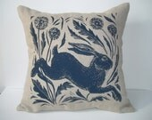 Leaping hare screen printed linen cushion