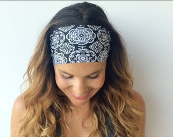 Yoga Headband - Workout Headband - Fitness Headband - Dusk till Dawn Print -  Boho Wide Headband