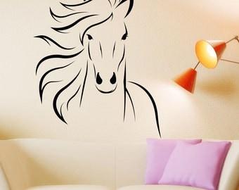 Superieur Horse Decal Mustang Horse Animal Vinyl Wall Decal Art Sticker Decor Stencil  Horse Decor Horse Wall