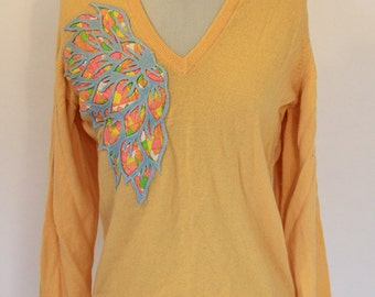 Yellow Cashmere Jumper With Floral Motif