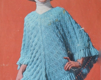 Vintage knitting pattern poncho beret scarf pdf INSTANT download pattern only pdf 1960s