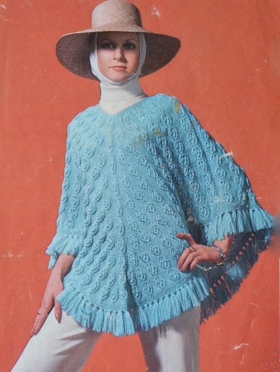 Vintage Knitting Pattern Beret : Vintage knitting pattern poncho beret scarf pdf INSTANT