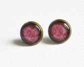 BOHO CHIC Stud Earrings metal brass depicting fashionable bordo drops , Vintage, Glamour, Boho, Red, Pink drops