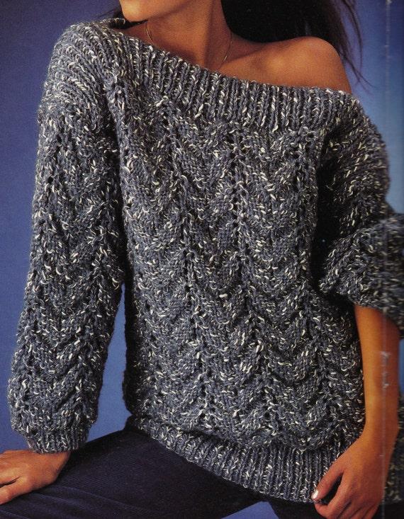 Easy Sloppy Jumper Knitting Pattern : Vintage Knitting Pattern Instructions to Make a by LucysPatternBox