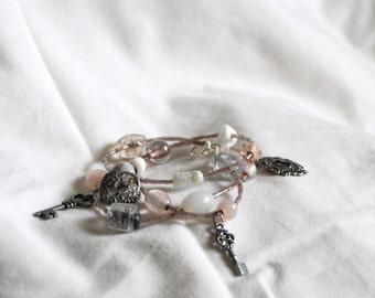 Charm Wrap Bracelet: charms, glass beads, hippie, boho style, layered bracelet, custom made, made to order