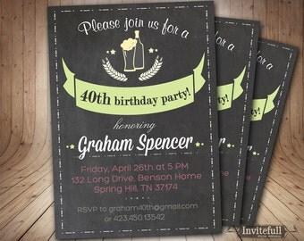 40th birthday Invitation for man - Adult Beer Birthday - Surprise 30, 40 party invite -Surprise Adult birthday invitation on chalkboard