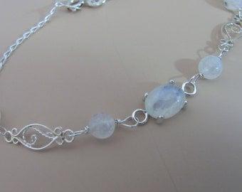 Rainbow Moonstone Bracelet, Sterling Silver, 10x8mm Moonstone Bracelet, Moonstone Gemstone Jewelry, Bride Bracelet, Wedding Jewelry