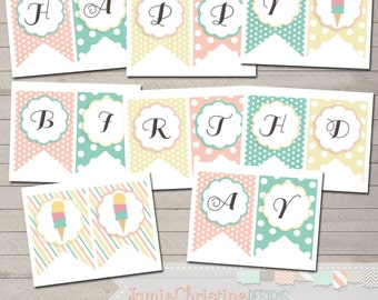 INSTANT DOWNLOAD-Ice Cream Birthday Banner-PRINTABLE