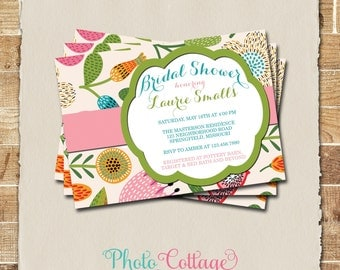 Bridal Shower Invitation, Organic Invitation, Flower Invitations, Bridal Shower Invites, Modern Invitation, BS122