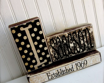 Personalized Family Name Established Blocks Sign Home Decor