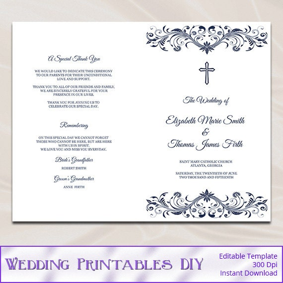 Catholic Wedding Program Template Diy Navy Blue Cross