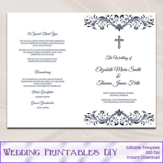 Catholic Wedding Program Template Diy Navy Blue Cross