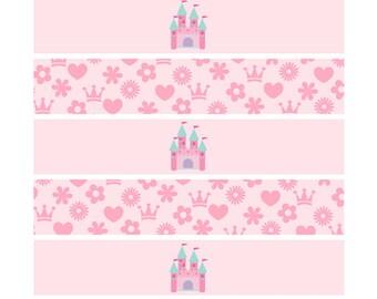Princess Napkin wrappers, Napkin Holders printable, Napkin wrappers Printable, Pink Princess Party Printable, Princess Decorations
