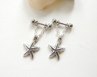 Starfish Nipple Ring Set of 2, Shell Nipple Barbells, Body Piercings, Nipple Jewelry, Nipple Piercings. 222