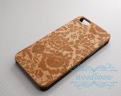 Rose- Custom Name - iPhone SE case - iPhone 5s Case - Wood iPhone 5 Case - wooden iphone 5 case - Cherry/Walnut/Rosewood