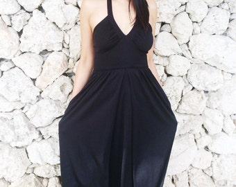 Vintage 70s Black Goth Boho Polyester Halter Neck Empire Waist Maxi Dress M // S