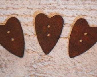 "12 Rusty Tin HEART Buttons .... 1"" high"