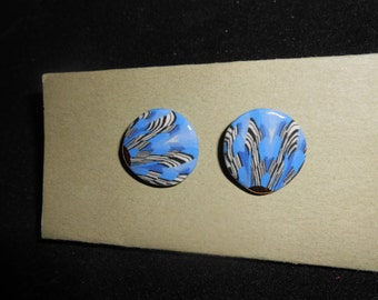 Vintage Shades of Blue pierced back earrings with black and white detail