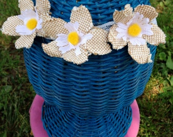 Burlap & Daisies Flower Crown